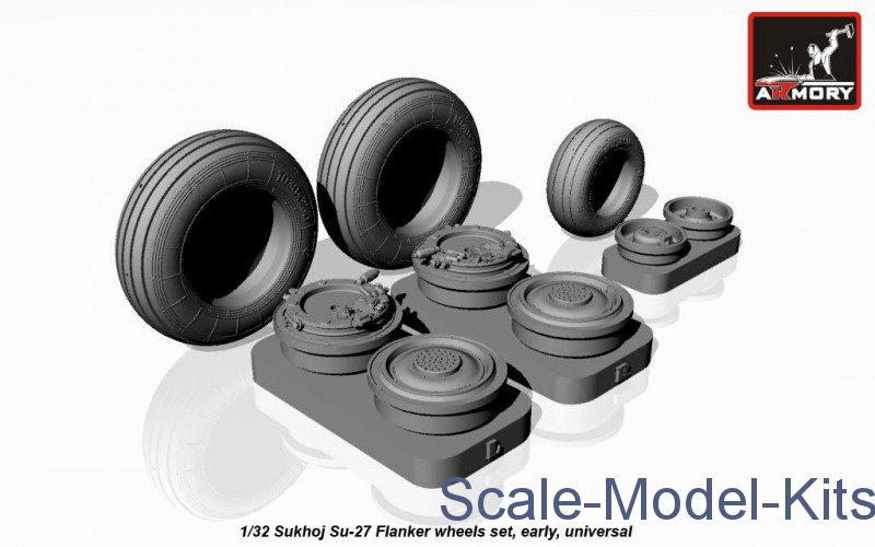 Wheels set 1/32 for Sukhoi Su-27 Flanker, early type