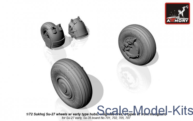 Sukhoj Su-27 wheels w/ early type hubs, weighted tires, 2 types of front mudguard
