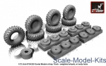 AR-AC7321a Wheels set 1/72 weighted w/ early hubs for Ural-375/4320