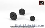 Detailing set: Mikoyan MiG-21 Fishbed wheels w/ weighted tires, mid, Armory, Scale 1:72