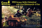 CMH096 WWII German Sd.Kfz.2 Kettenkrad with 8.8cm Raketenwerfer 43 Gun and crew