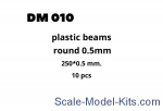 Plastic beams 250x0.5 mm, 10 pcs