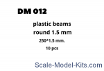 DAN012 Plastic beams 250x1.5 mm, 10 pcs