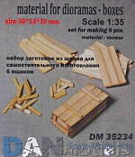 DAN35234 Material for dioramas - wooden boxes, 6 pcs