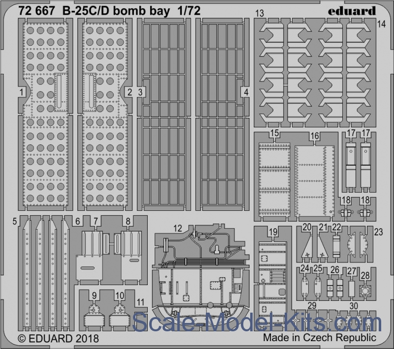 Photoetched set for B-25C/D bomb bay, Airfix kit