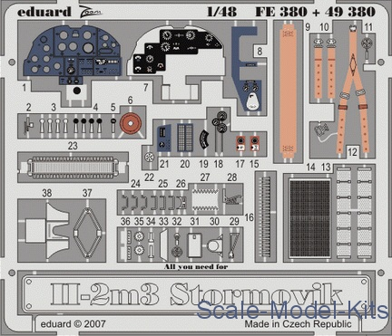 Photoetched set 1/48 Il-2m3 Stormovik Color, for Accurate Miniatures kit