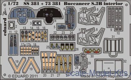 Photoetched set 1/72 Buccaneer S.2B interior Color, for Airfix kit