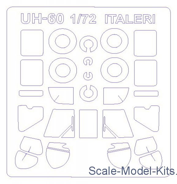 Mask for UH-60 Black Hawk/UH 60 Desert Hawk/UH 60A and wheels masks (Italeri/Revell)
