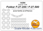 Mask 1/144 for passenger windows Fokker F-27-200/F-27-500 and wheels masks (Eastern Express)