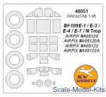 KVM48051 Mask for Bf-109E-4/N Trop and wheels masks (Airfix)