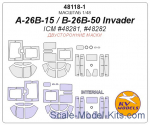 Mask 1/48 for A-26B-15/B-26B-50 Invader (Double sided) + wheels masks (ICM)