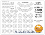 "KVM72137-01 Mask 1/72 for Airbus A 400M ""Grizzly"" (Revell #04800) - Double sided + wheels masks"