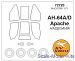 KVM72720 Mask for АН-64/АН-64А Apache and wheels masks (Hasegawa)