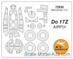 KVM72930 Mask 1/72 for Do-17Z + wheels masks for Airfix kit
