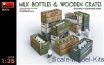 MA35573 Milk bottles & Wooden crates