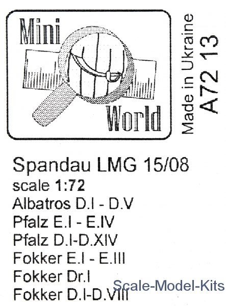 Spandau LMG 15//08 machine gun     1//72 Mini World # 7213