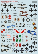 "Decals / Mask: Decal for Albatros D.III ""Austro-Hungarian Aces"", part 1, Print Scale, Scale 1:72"