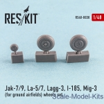 Detailing set: Wheels set for Yak-7/9, La-5/7, Lagg-3, I-185, Mig-3 (for ground airfields) (1/48), Reskit, Scale 1:48