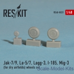 Detailing set: Wheels set for Yak-7/9, La-5/7, Lagg-3, I-185, Mig-3 (for dry airfields), Reskit, Scale 1:48