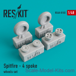 RS48-0103 Wheels set for Spitfire (4 spoke wheels)