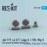 Detailing set: Wheels set for Yak-7/9, La-5/7, Lagg-3, I-185, Mig-3 (for ground airfields) (1/72), Reskit, Scale 1:72