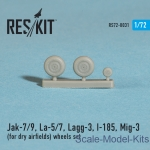 Detailing set: Wheels set for Yak-7/9, La-5/7, Lagg-3, I-185, Mig-3 (for dry airfields) (1/72), Reskit, Scale 1:72