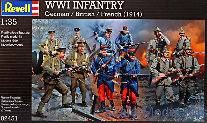 German, British and French infantry, 1914